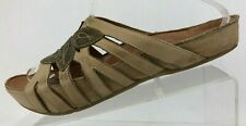 Earth Kalso Sandals Enthuse Strappy Brown Leather Footbed Slides Womens US 9.5 B