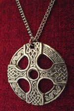 Celtic Cross Circle Pendant Irish Kells Silver Pewter Stainless Chain Necklace