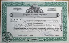 'Kittyhawk Television Corporation' 1970 Stock Certificate - Kettering, Ohio Oh