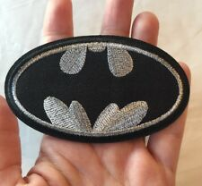 "Batman Embroidered Patch Iron On Silver Black Bat Man Logo 4"" Medium Size"