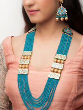 Indian Gold Plated Sky Blue Kundan Pearl Necklace Earrings Ethnic Women Jewelry