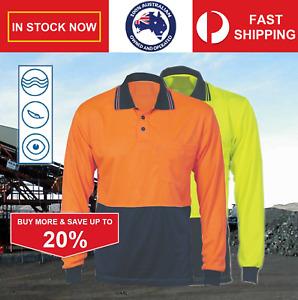 L XL 3XL 4XL100% Polyester Hi Vis Fluro Safety Polo Shirt Long Sleeve Wholesale