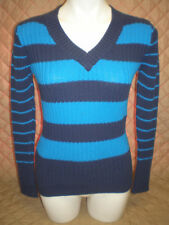 GUC - Women's Faded Glory Blue Striped V-Neck Long Sleeve Sweater - M(8-10)