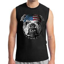 American Bulldog Men's Sleeveless Wild Dog and Us Flag Muscle Tee - 2085C