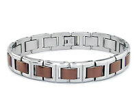 """Stainless Steel Brown or Gold Two Tone Link Mens Biker Style Bracelet 8.5"""""""