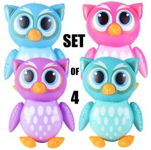 """(Set of 4) 24"""" Colorful Owls Inflatable -  Inflate Blow Up Toy Party Decoration"""