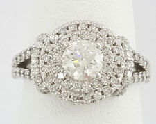 1.23 ct 14K White Gold Round Diamond Double Halo Engagement Ring AGS Triple 0