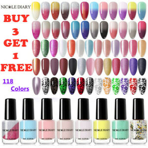 NICOLE DIARY Thermal Nail Polish Color-changing Holographics Varnish Nail Art