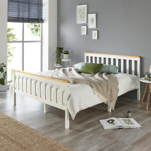 Aspire Beds Solid Wood White Bed Frame Choice of Natutral Wood Tops All Sizes