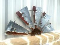 "30"" Rustic Texas Half Windmill Head Fan Western Ranch Barn Farmhouse Wall Decor"