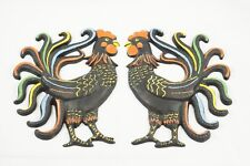 Mid Century Modern Cast Iron Roosters Vintage Wall Hangings Colorful