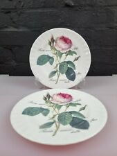 More details for 2 x vintage roy kirkham bone china redoute roses salad plates 20.5 cm wide set