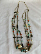SOUTHWEST MULTI STRAND CARVED BIRDS With TURQUOISE GEMSTONES  BEADS NECKLACE