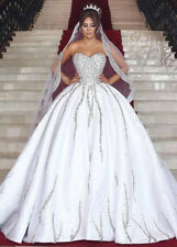 Luxury White Beaded Sequins Ball Gown Satin Wedding Dresses Bridal Gowns Elegant