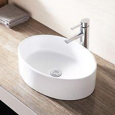 Bathroom Oval Vessel Sink Ceramic Porcelain Vanity Basin Bowl Bathroom White