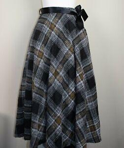 Mid Century Vintage Black & Yellow Tartan Plaid Midi Skirt BNWT Size 12 14 16