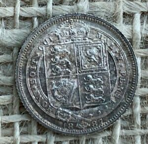 1887 Victorian Silver Sixpence 0.9250 EF