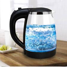 Illuminated Glass Kettle Blue LED 360° Cordless 2L Electric Jug Portable Design