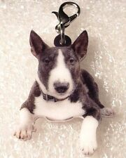 Bull Terrier Dog Realistic Acrylic Double-Sided Purse Charm Zipper Pull Jewelry