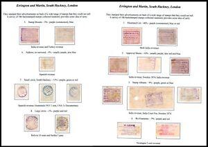 1890's onwards Errington & Martin stamp dealer advertising underprints study