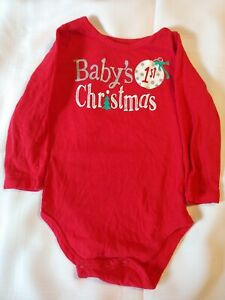 BABY'S 1ST CHRISTMAS ~ Onzie~ Red ~ Snap Bottom ~ Size 18 months *