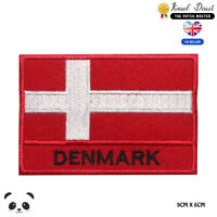 Denmark National Flag With Name Embroidered Iron On Sew On Patch Badge