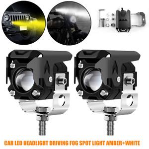 1Pair Motorcycle Car LED Headlight Driving Fog Spot Light Lens Lamp Amber+White