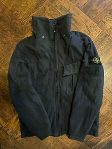 Pre-Owned Stone Island Soft Shell-R Jacket SZ Large Navy Crinkle Reps Metal