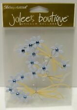 BLUE Flowers w/ Beads & Bows Dimensional Stickers - Scrapbooking Planner