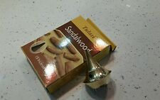 Metal Brass Gold burner + Tulasi 15p Incense cones sandalwood  Made in India.