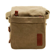 Troop London - Small Khaki Classic Canvas Messenger/Body Bag with Leather Trim
