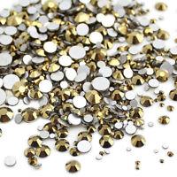 1440pcs Nails Gold Hematite Crystal Non Hotfix Flatback Rhinestones For Nail Art