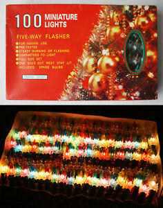 VINTAGE 90'S CHRISTMAS 100 DIAMOND REFLECTORS TREE LIGHTS INDOOR CHINA NEW NOS !