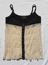 EX CON Dogstar Size 6 Singlet Tank Top Vest Black Cream Mesh Casual Japanese