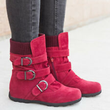 Womens Casual Winter Warm Mid-calf Low Heel Snow Flat Slouch Short Boots Shoes