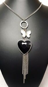 Long Necklace With Butterfly And Heart Charms On Silver Chain