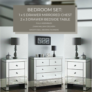 BEDROOM SET : Mirrored Chest of 5 Storage Drawers & 2 Mirror Bedside Night Chest