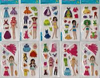 10 sheets of stickers girls party loot bags fillers clothes changing fashion