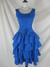 Vtg 50s 60s Blue Satin Womens Vintage Ruffled Cocktail Party Dress W 27