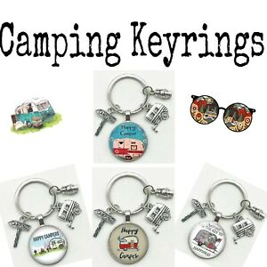 Happy Camper Keychains Travel Camping Souvenir Multiple Options