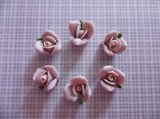 11mm Purple Ceramic Rose Flower Flat Back Cabochons w/ Pink Center - Qty 6