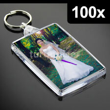 100x Premium Quality Clear Acrylic Blank Keyrings Key Fobs 70 x 45 mm | Large