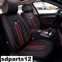 Per Nissan VW Audi Coppia Coprisedili Nero Ricamo Rosso Similpelle e Tessuto Lux