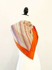 CHANEL - VTG Orange Cream Striped Mid Century Modern Rolled Hem Long Silk Scarf