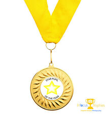 Star Award Teacher Gift Pupil Medal Personalised Text + Ribbon