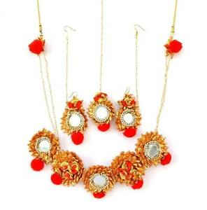 Ambika Designs Red Gota Patti Mirror Work Necklace With Earrings & Maang Tika .