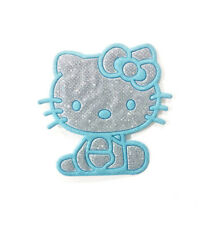 HELLO KITTY SILVER & BABY BLUE IRON ON EMBROIDERED FABRIC APPLIQUE PATCH USA