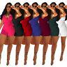 Womens Clubwear Halter Jumpsuit Deep V-neck Romper Bodycon Playsuit Short Dress