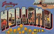 Holland Michigan Large Letter Linen Antique Postcard K89905