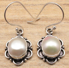 White AAA Quality FRESH WATER PEARL ART Earrings ! Silver Plated ASIAN Jewelry